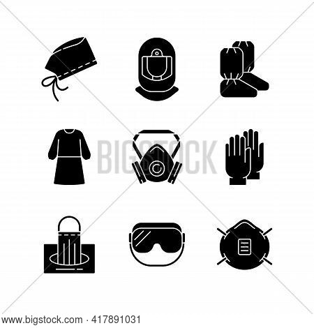 Medical Disposable Covers Black Glyph Icons Set On White Space. Surgical Cap And Helmet. Boot Covers