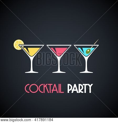 Martini Glasses With Cocktails, Olive And Lemon Slice On Dark Background. Design Template For Poster