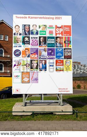 Utrecht, The Netherlands - 25 Feb, 2021: Billboard In Utrecht With Dutch Political Campaign Posters