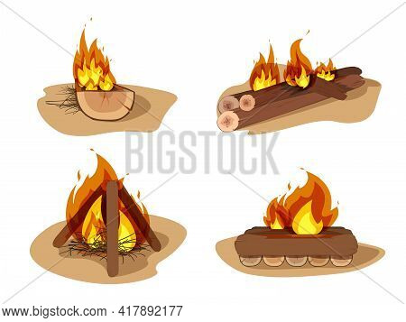 Flame And Fire Sign. Set Of Flame And Camp Vector Icon For Stock. Firewood Boards, Outdoor Bonfire O