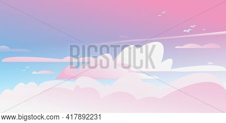Sunrise In The Cloudy Sky. Vector Color Horizontal Background Of Cloudy Sky. Fantastically Fantastic