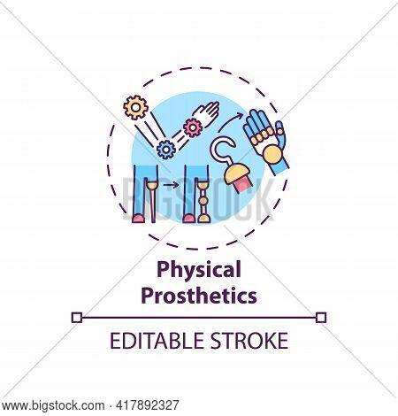Physical Prosthetics Concept Icon. Rehabilitation Engineering Idea Thin Line Illustration. Enhancing