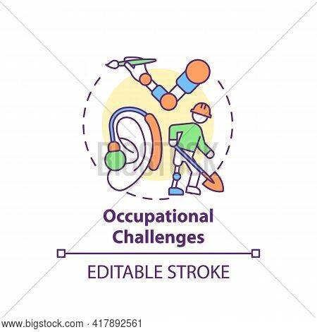 Occupational Challenges Concept Icon. Upper-limb Prostheses Task Idea Thin Line Illustration. Vocati