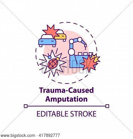 Trauma-caused Amputation Concept Icon. Amputation Cause Idea Thin Line Illustration. Motor Vehicle A