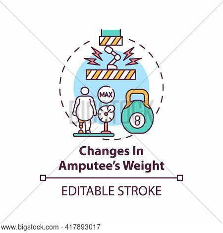 Changes In Amputee Weight Concept Icon. Prosthesis Replacement Condition Idea Thin Line Illustration