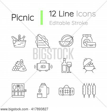 Picnic Linear Icons Set. Heaving Picnic Hamper. Ham And Cheese Sandwich. Takeaway Food. Wireless Rad