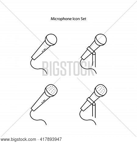 Microphone Icon Set Isolated On White Background. Microphone Icon Thin Line Outline Linear Microphon