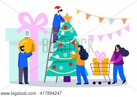 Happy Family Decorates A Christmas Tree Vector Illustration Of A Flat Design Cute Smiling People Dec