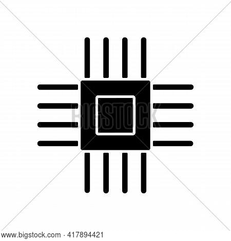Electronic Micro Parts Black Glyph Icon. Small Electronic Components To Make Modern Smart Systems. C