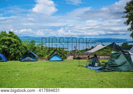 Beautiful Landscape View From Camping Ground Of  Huai Mae Khamin Waterfall Srinakarin National Park