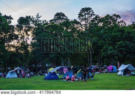 Kanchanaburi/thailand-8 Aug 2020:unacquainted People Camping Ground In Mae Khamin Waterfall Srinakar