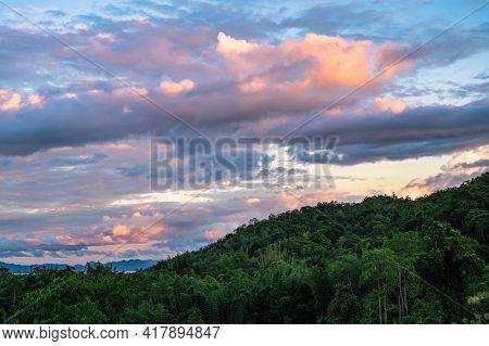 Beautiful Landscape View And Sunset From Viewpoint Of  Huai Mae Khamin Waterfall Srinakarin National