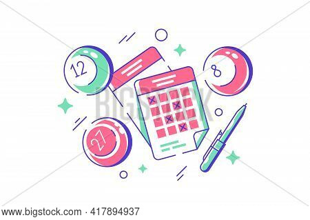 Lottery Balls And Tickets Game Vector Illustration. Lotto, Bingo Or Keno Gambling Sport Games Flat S