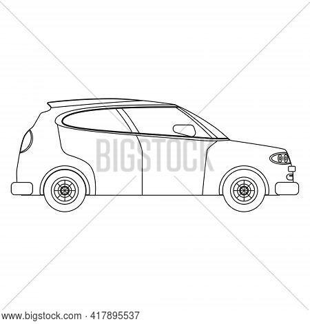 Hatchback Car Outline Drawing, Concept Lineart. Automobile Transport Illustration Side View, Vector