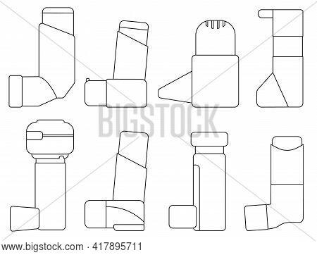 Inhaler Isolated Outline Set Icon.vector Illustration Illustration Apparatus On White Background .ou