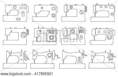 Sewing Machine Vector Illustration On White Background. Isolated Outline Set Icon Tool For Sew. Vect