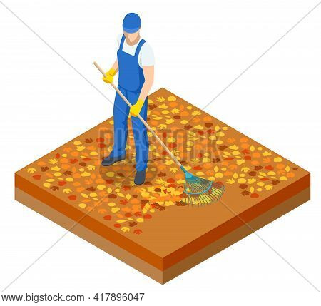 Isometric Man Cleaning Fallen Autumn Leaves, A Gardener Collects And Cleans Fallen Leaves In The Fal