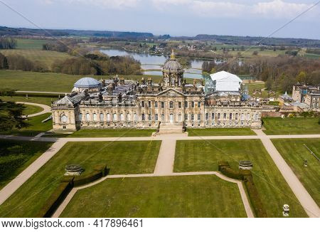 Castle Howard, York, Uk - April 20, 2021.  Aerial Image Of The House And Garden Estate Of Castle How