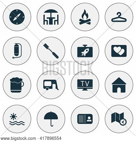 Journey Icons Set With Tv, Compass, Certification And Other Lab Elements. Isolated Vector Illustrati