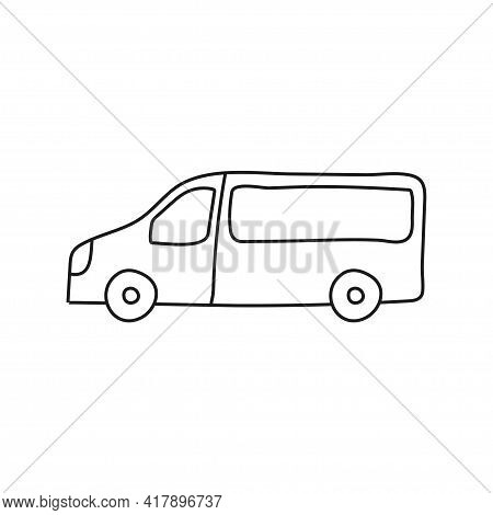 Hand Drawn Doodle Small Bus For Coloring Children Book. Simple Line, 2 - 4 Age Group. Big Mashines,