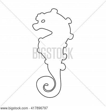 Sea Horse Vector Icon.outline Vector Icon Isolated Illustration On White Background Sea Horse.