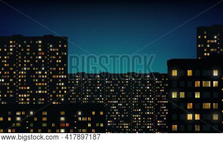 Glowing Gold Windows Of Buildings, Stars In Night Sky. View From Window On City Night Landscape. Lig
