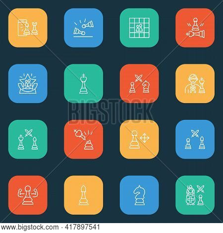 Activity Icons Line Style Set With Competition, Chess Piece, Chess Award And Other Knight Against Pa
