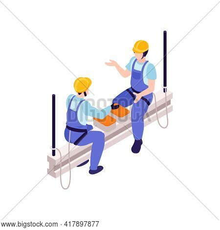 Two Ironworkers Wearing Safety Harness Having Dinner On Beam Isometric Vector Illustration