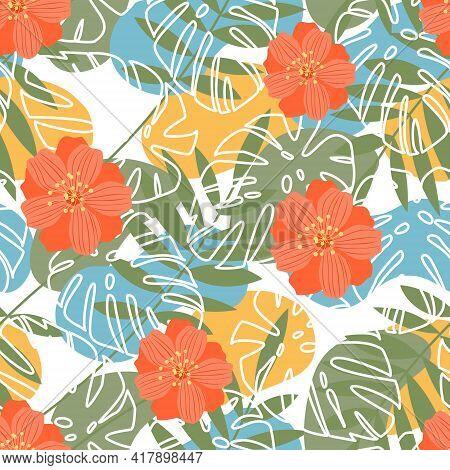 Summer Flower Background For Fabric Design. Fabric Pattern. Elegant Design. Vintage Style.seamless V