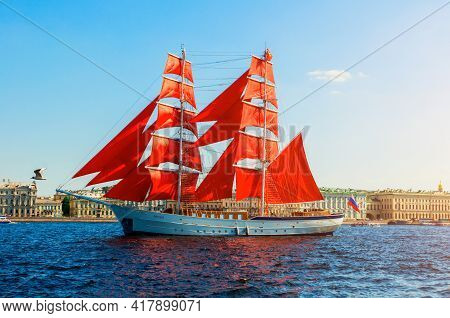 Saint Petersburg, Russia - June 6, 2019. Russian Brig Russia With Scarlet Sails On The Neva River. S