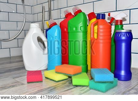 Detergent Bottles, Sponge For Washing And Detergent Spray Cleaner. Household For Cleaning And Washin