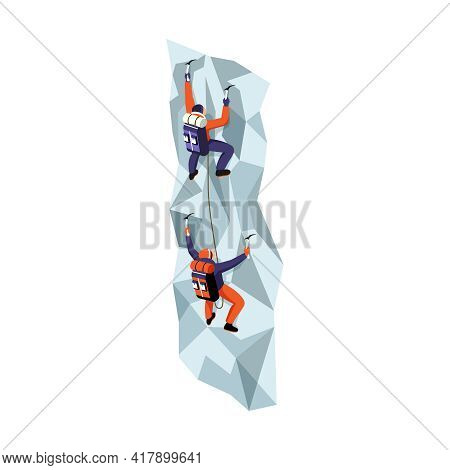 Two Climbers With Equipment Climbing Steep Rock 3d Isometric Vector Illustration
