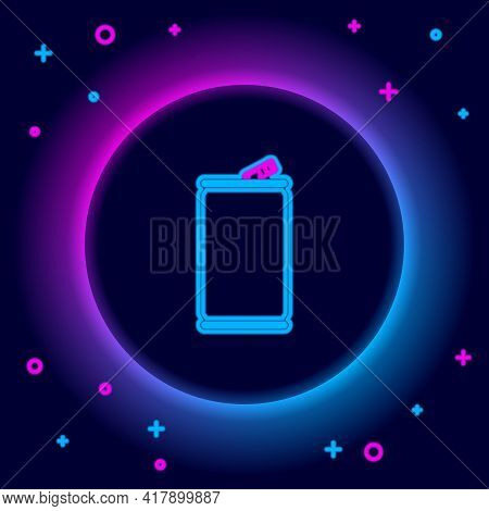 Glowing Neon Line Aluminum Can Icon Isolated On Black Background. Colorful Outline Concept. Vector