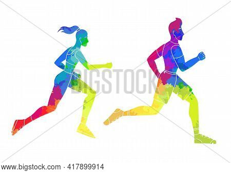 Set Of Rainbow Watercolor Silhouettes Of Running Man And Woman. Jogging. The Modern Persons Involved