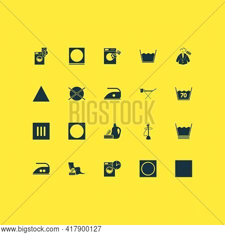 Textile Icons Set With No Heat, Instruction, Clothes Steaming And Other Do Not Dry Clean Elements. I