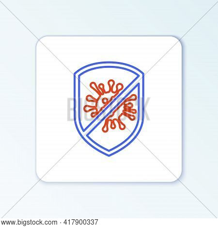 Line Stop Virus, Bacteria, Germs And Microbe Icon Isolated On White Background. Antibacterial And An