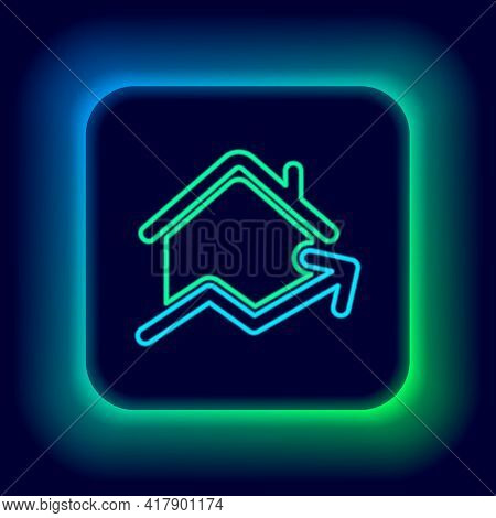 Glowing Neon Line Rising Cost Of Housing Icon Isolated On Black Background. Rising Price Of Real Est