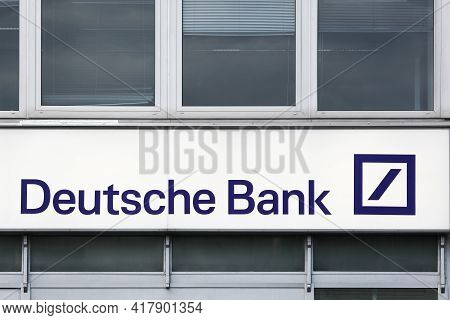 Berlin, Germany - July 12, 2020: Deutsche Bank Logo On A Wall. Deutsche Bank Is A German Global Bank