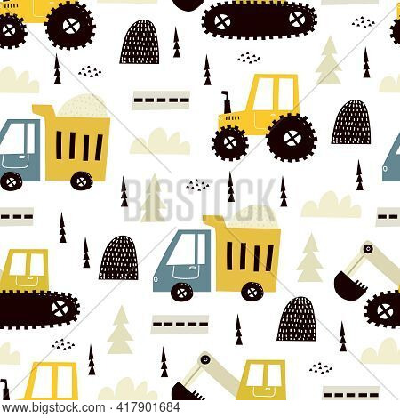 Seamless Pattern With Cartoon Truck, Tractor,  Bulldozer, Decor Elements. Colorful Vector Flat Style