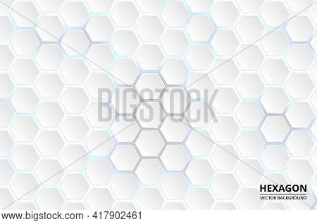 White Hexagonal Abstract Background. Hi-tech Background Design. Hexagonal Background For Digital Tec