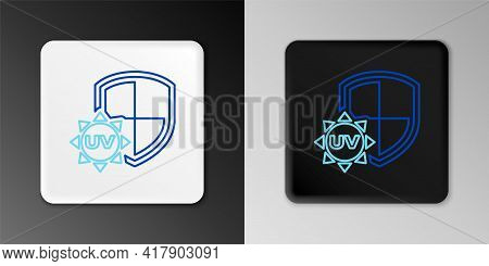 Line Uv Protection Icon Isolated On Grey Background. Sun And Shield. Ultra Violet Rays Radiation. Sp