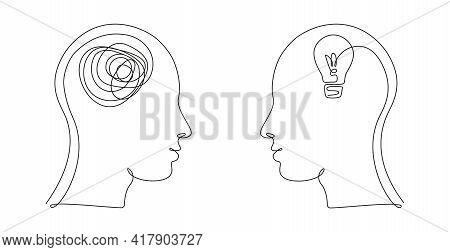 Two Human Heads With Confused And Clean Thoughts In One Line Art Style. Continuous Drawing Illustrat