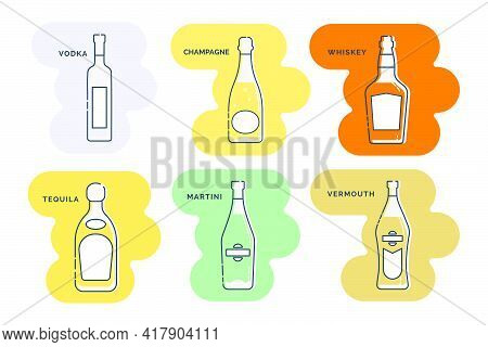 Bottle Vodka Champagne Whiskey Tequila Martini Vermouth Line Art In Flat Style. Restaurant Alcoholic