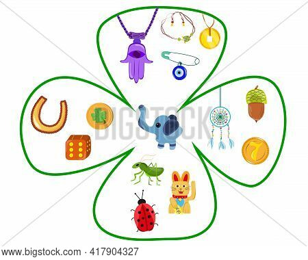 Good Fortune Symbols Set. Collection Of Good Luck Symbols. Elements In Clover. Isolated Vector Items