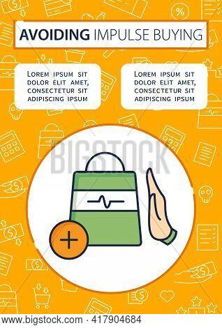 Not Impulsive Shopping Brochure. Avoiding Impulse Buying.thoughtful Spending Money Template. Flyer,