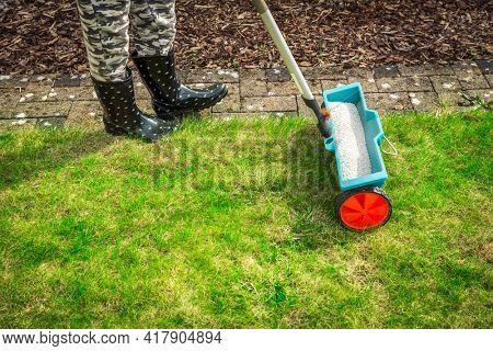 Fertilize lawn - Detail of Fertilizer spreader on green lawn