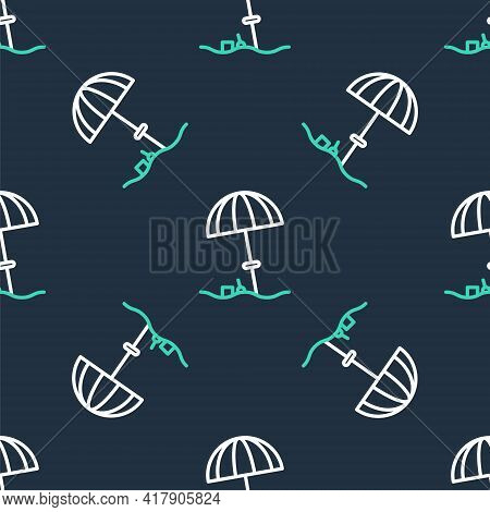 Line Sun Protective Umbrella For Beach Icon Isolated Seamless Pattern On Black Background. Large Par