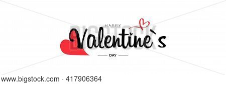 Valentine Day Lettering. Heart, Love, Symbol Vector. Isolated On A White Background