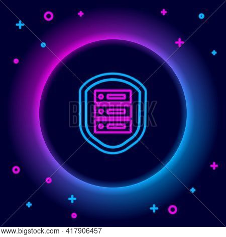 Glowing Neon Line Server With Shield Icon Isolated On Black Background. Protection Against Attacks.