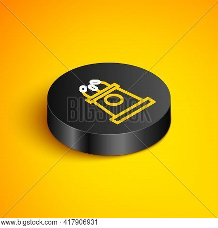Isometric Line Stage Stand Or Debate Podium Rostrum Icon Isolated On Yellow Background. Conference S